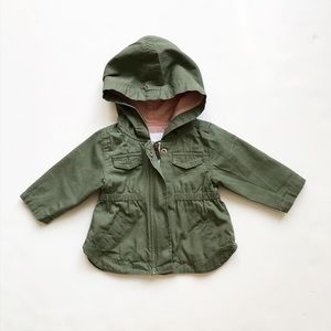Old Navy green hooded lined jacket  EUC 3-6 months
